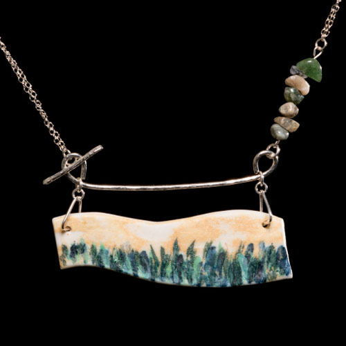 Coastal porcelain bar necklace with ocean jasper and silver chain