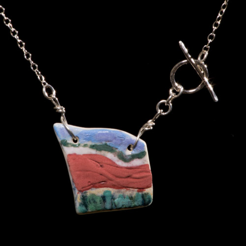 Seaside landscape porcelain tile necklace on silver chain