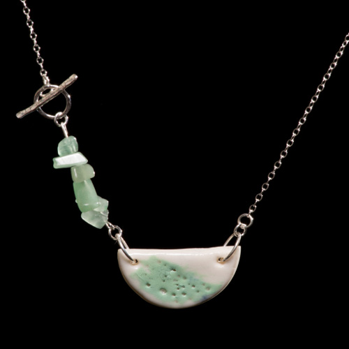 Delicate pale green and white porcelain and silver pendant necklace