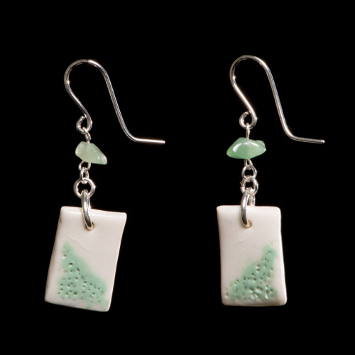 Delicate pale green and white porcelain, green aventurine and silver drop earrings