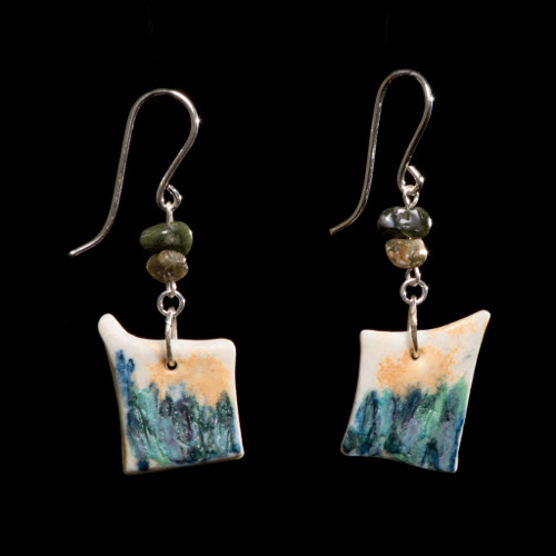 Coastal porcelain, ocean jasper and silver drop earrings