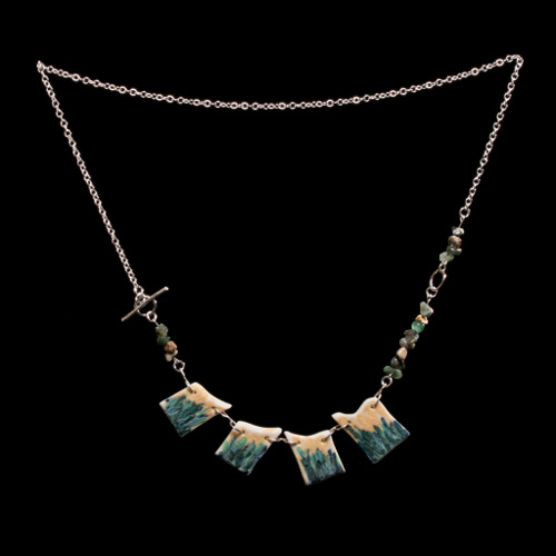 Coastal porcelain necklace with four individual tiles, ocean jasper detail and silver chain