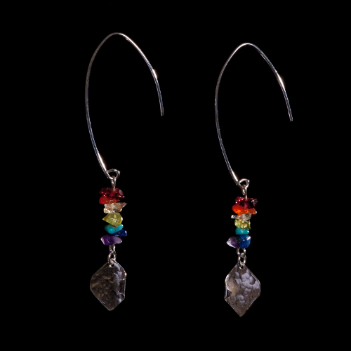 Rainbow gemstone and silver drop earrings