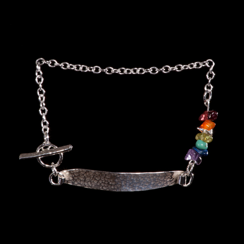 Rainbow gemstone and silver bar bracelet
