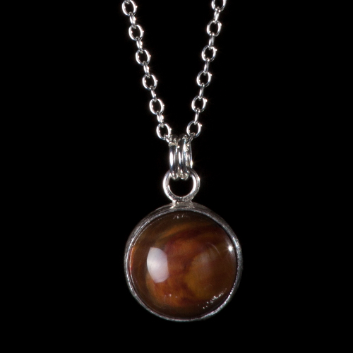 Delicate silver chain and petrified wood pendant