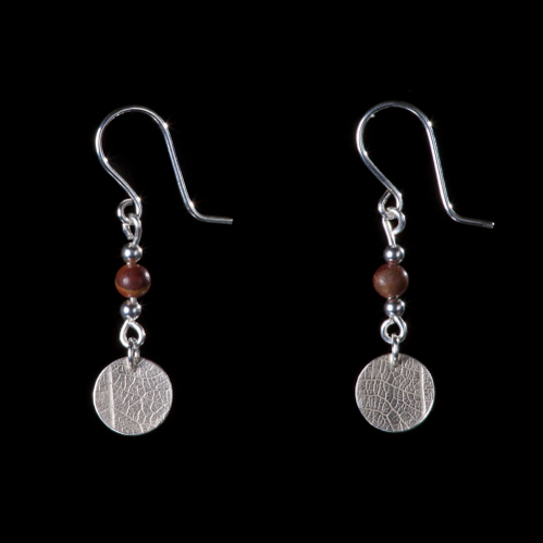 Petrified wood beads and silver leaf patterned disc earrings