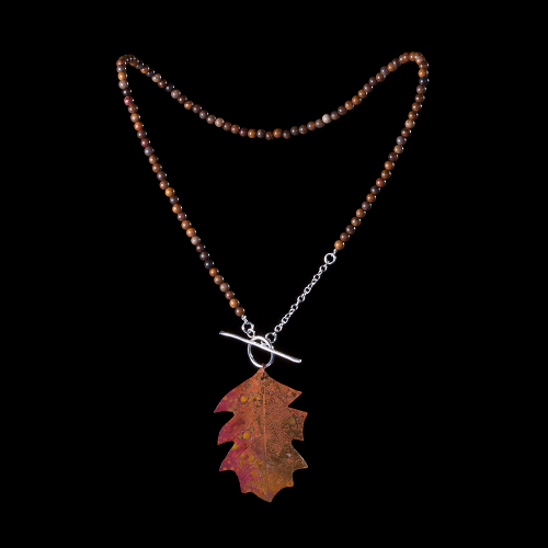 Copper leaf and petrified wood necklace