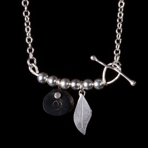 Black coral, silver leaf and silver bead necklace
