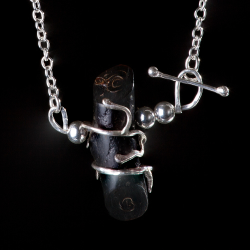 Black coral log and silver detail necklace