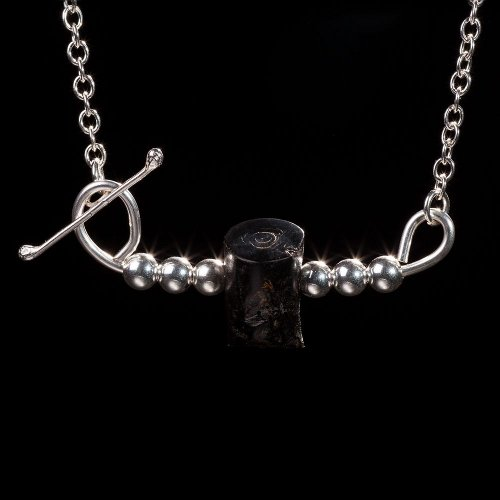 Black coral log with silver beads necklace