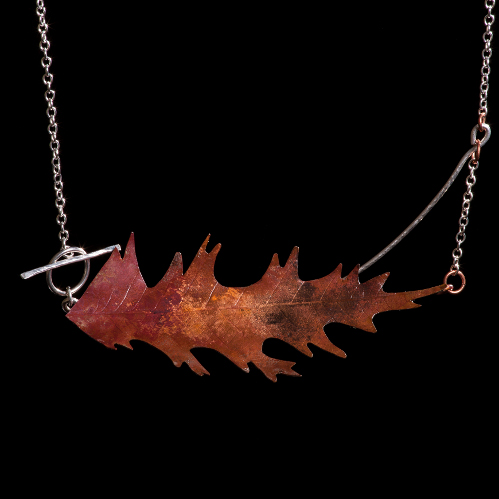 Aged copper leaf necklace