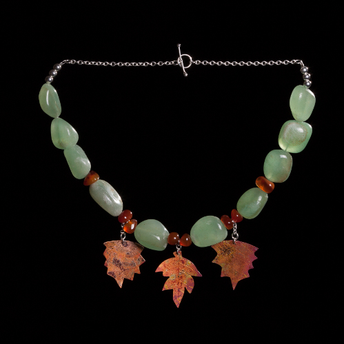 Chunky aventurine, carnelian  and copper leaves necklace