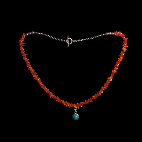Carnelian chip necklace with amazonite pendant