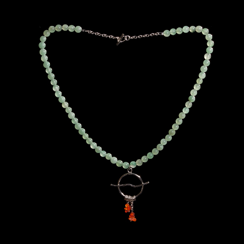 Aventurine bead necklace with silver ring and carnelian pendant