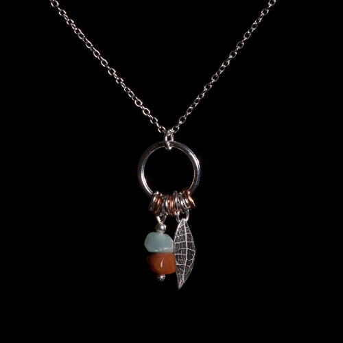 Silver ring and toggle pendant with silver leaf and aventurine and carnelian drop on silver chain