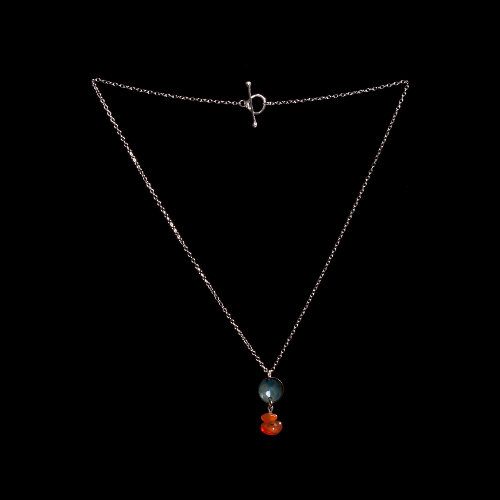 Enamelled domed disc and carnelian necklace