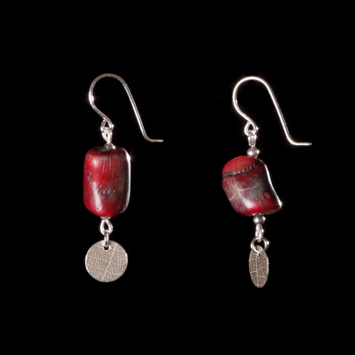 Sea bamboo and silver leaf-patterned disc drop earrings