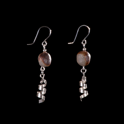 Ceramic bead with silver corkscrew drop earrings